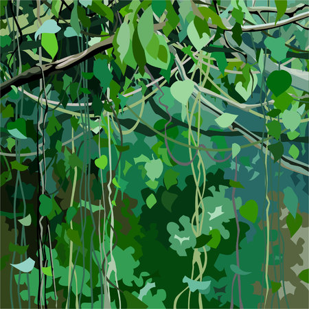 cartoon background with forest overgrown with green leaves and lianas Illustration