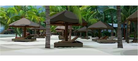 loungers: painted tropical beach with loungers and parasols Illustration