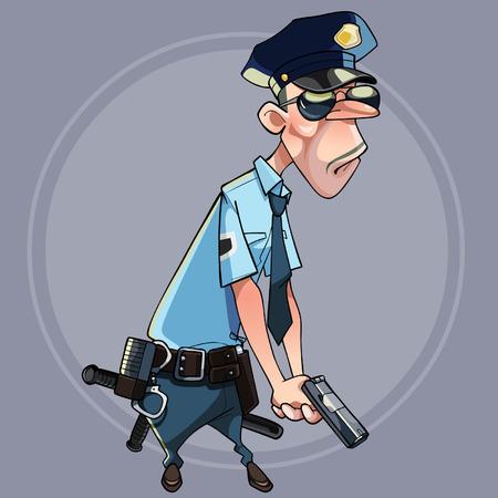 Hombre serio de la historieta en uniforme de la policía que sostiene un arma Vectores