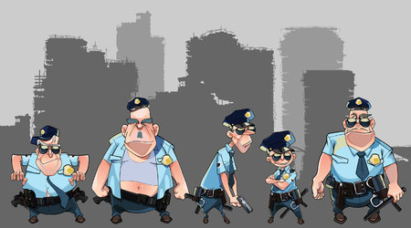 policia caricatura: Cartoon group of diverse men in police uniforms with guns