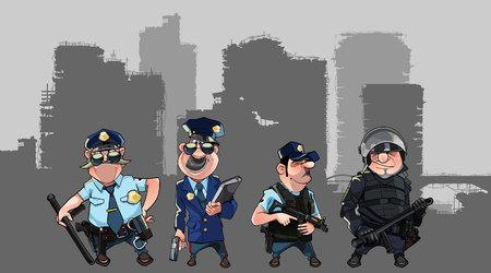 Hombres de la historieta en uniformes de la policía y forma de fuerzas especiales con las armas