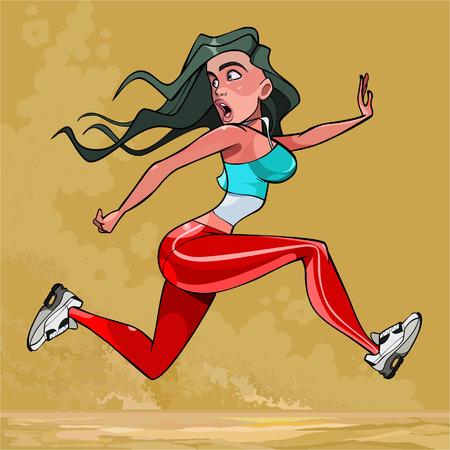 la donna spaventata del fumetto sta correndo molto velocemente