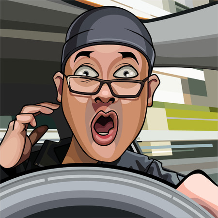 cartoon man driving exclaims in surprise with his mouth open