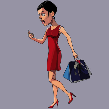 cartoon woman stares at the phone on the go Ilustração