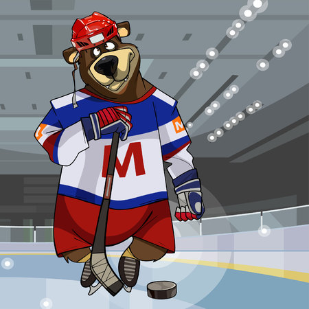 Cartoon character bear dressed in clothes hockey player with stick and puck.