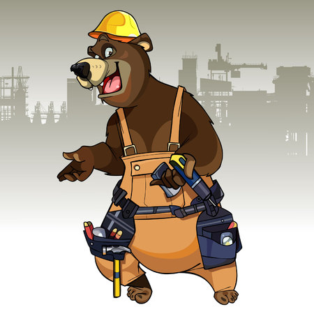 cartoon character bear dressed in the working clothes with tools
