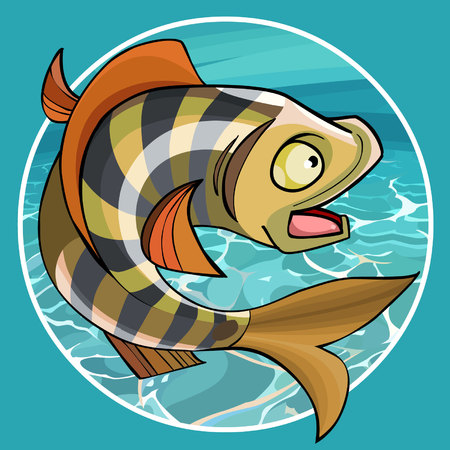 cartoon funny fish perch in a circle on a background of water