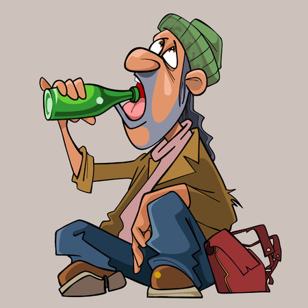 Cartoon homeless man drinks sitting on the ground. Illustration