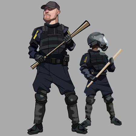 Cartoon men in special clothes police officers in bulletproof vests.