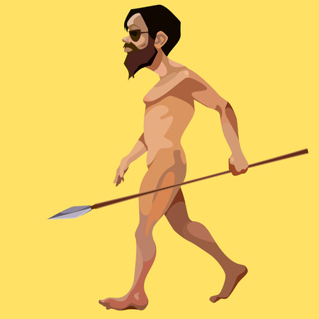 Cartoon modern man stripped and took a javelin. Illustration