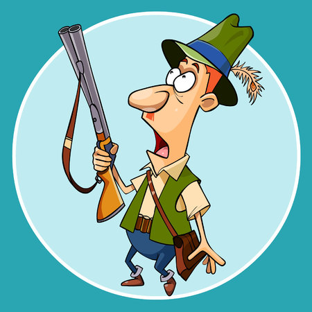 A cartoon scared the hunter with a gun in hand