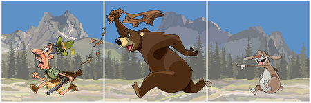 Cartoon bear chasing a hunter and the hare scoffs.