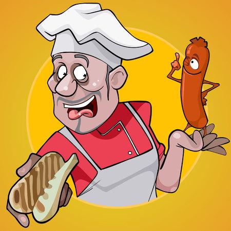 Männlicher Chef der Karikatur, der ein Brötchen und eine Wurst auf einem gelben Hintergrund hält
