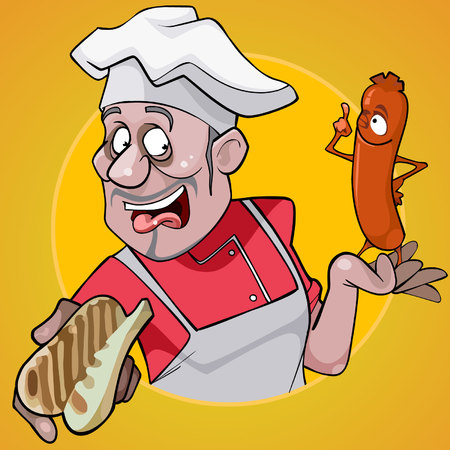 Cartoon male chef holding a bun and sausage on a yellow background