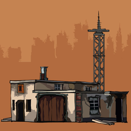Old dilapidated two-story building with a metal tower. Illustration