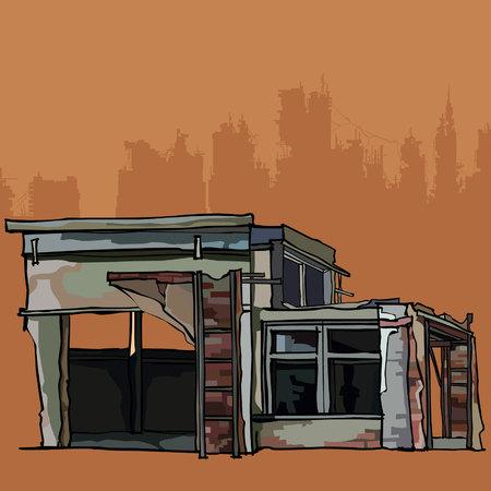 Le bâtiment en brique dilapide est un garage avec annexe