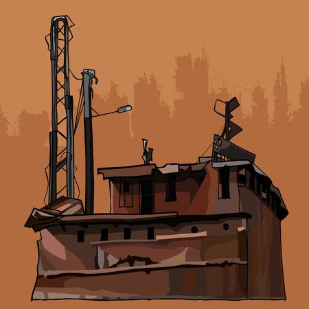 Construction métallique corrodée rouillée et oxydée dilatée