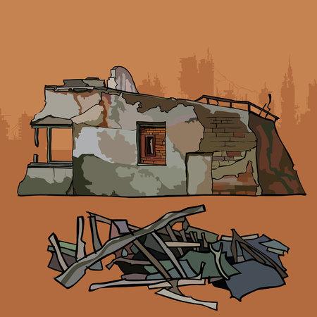 Viejo remanente dilapidado de un edificio de ladrillo con escombros Foto de archivo - 79236771