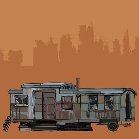 昔の鉄ハウス トレーラー