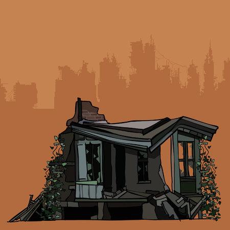Les ruines d'une vieille maison couverte de lierre