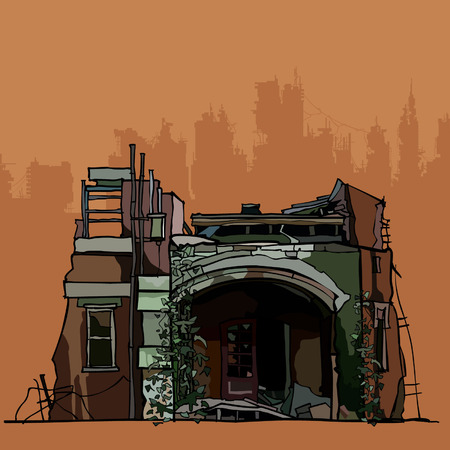 Las ruinas de la vieja casa derrumbada con la hiedra Foto de archivo - 79236976
