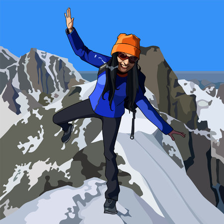 Happy woman at the top of the mountain Illustration