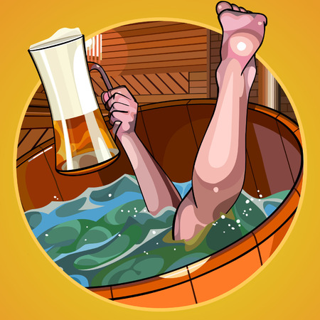 Cartoon man with a beer in hand dives in the bath