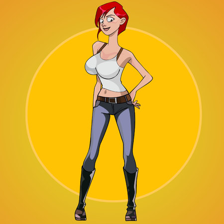 Cartoon red haired woman with big breasts standing akimbo
