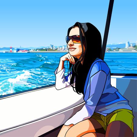Cartoon woman rides on the boat Illustration