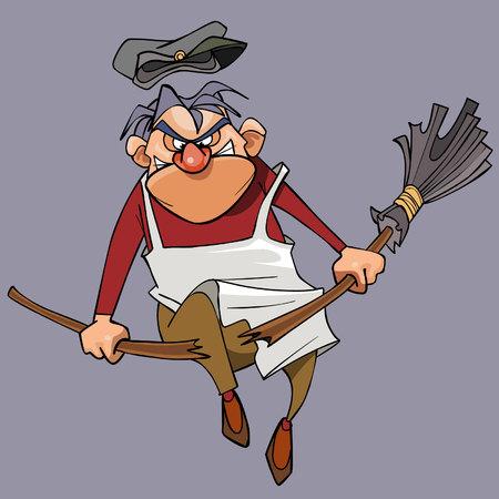 Cartoon evil male janitor breaks the broom on his knee Illustration