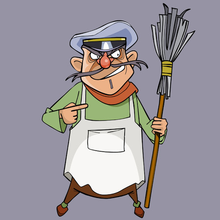 Cartoon evil male janitor with a broom in hand