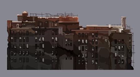Cartoon old dilapidated multi-storey building