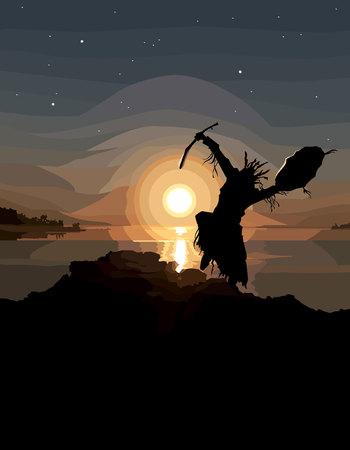 Geschilderd silhouet van een dansende sjamaan op de zonsondergang bij de rivier Stock Illustratie