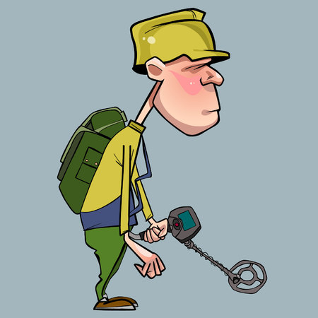 Cartoon character of man walking with a metal detector
