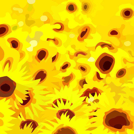 Abstract painted a field of yellow flowers sunflowers
