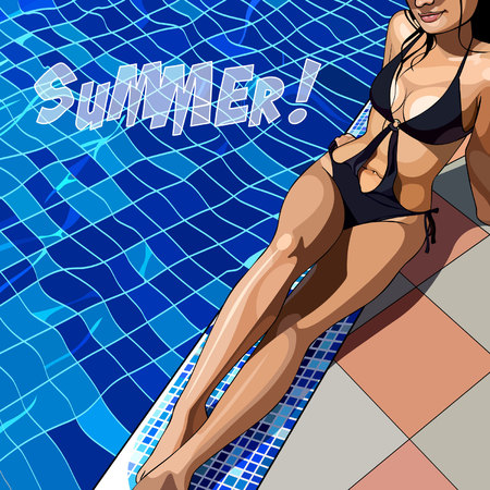 Painted beautiful woman in a swimsuit by the pool