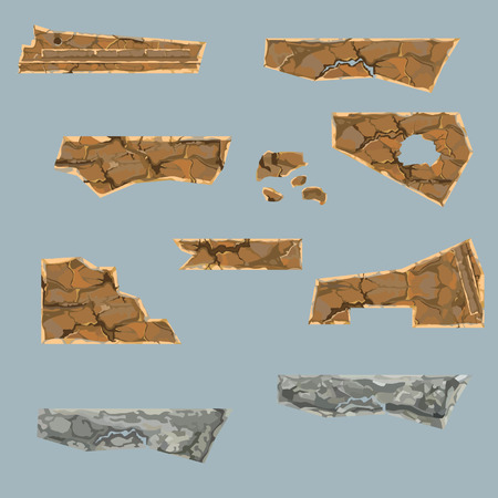 Painted set of various dilapidated stone parts Illustration