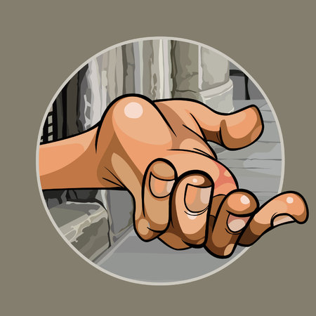 Cartoon hand of a beggar in the street close up Illustration