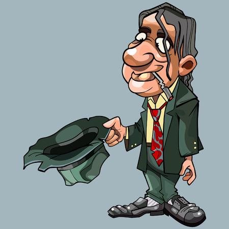 Cartoon dakloze man in pak met stropdas vraagt om aalmoes