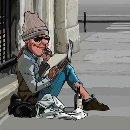 Cartoon dakloze man buiten zitten met laptop Stock Illustratie