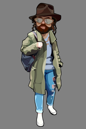 Cartoon man in tattered clothes with a beard and in a hat