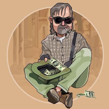 alms: Cartoon homeless man begging dollars in a hat Illustration