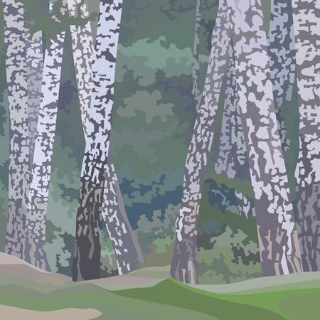 Cartoon painted background of a birch forest 版權商用圖片 - 83042848