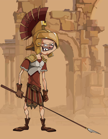 Cartoon funny man in a gladiators