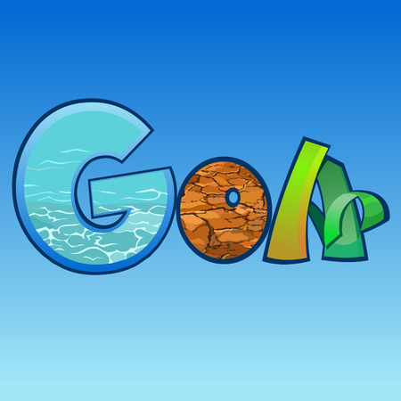 Cartoon multicolored letters with background, inscription GOA