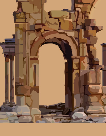 Painted dilapidated stone arch of ancient ruins Illustration