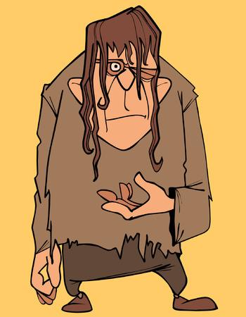 Cartoon a terrible man in ragged clothes winks Çizim