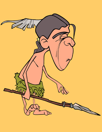 Cartoon funny man aboriginal indian with a spear in his hand Illustration