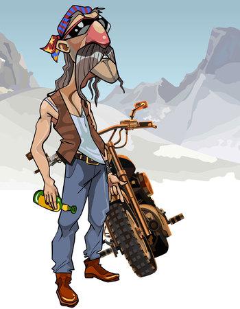 Ciclista masculino de dibujos animados con una botella al lado de una motocicleta Foto de archivo - 83773105