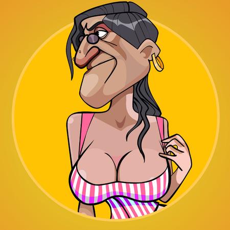 誘惑の胸の豊かな形の漫画怖い女
